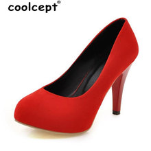 Coolcept Size 34-43 Women High Heels Shoes women 6 Color Thin Heel Scrub Sexy Party Dresss Pumps Round Toe Slip-On Lady Shoes