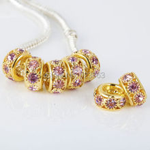 Sale 50pcs/lot Pink Rhinestone Gold Color Spacer European Beads For DIY Jewelry Bracelets ,6x10mm Big Hole Charms Accessories