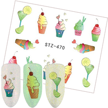 1 Sheets 2017 New Ice Cream Summer Sticker Nail Art Water Transfer Sticker Tips Women DIY Makeup Tattoos Nail Decals TRSTZ470(China)