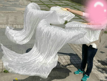Belly Dance Veil Fan Stage Performance Real Silk Oriental Dancing Fan Veils 180cm White(China)