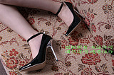 13cm black wristband red plating heels cdts dressing sexy high-heeled shoes big yards 5-12<br>