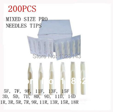 200PC Lot White Mixed Sterile Disposable Tattoo Machine Gun Nozzle Tips Needle Tube For Tattoo Gun Needle Ink Cup Grip Kits(China)