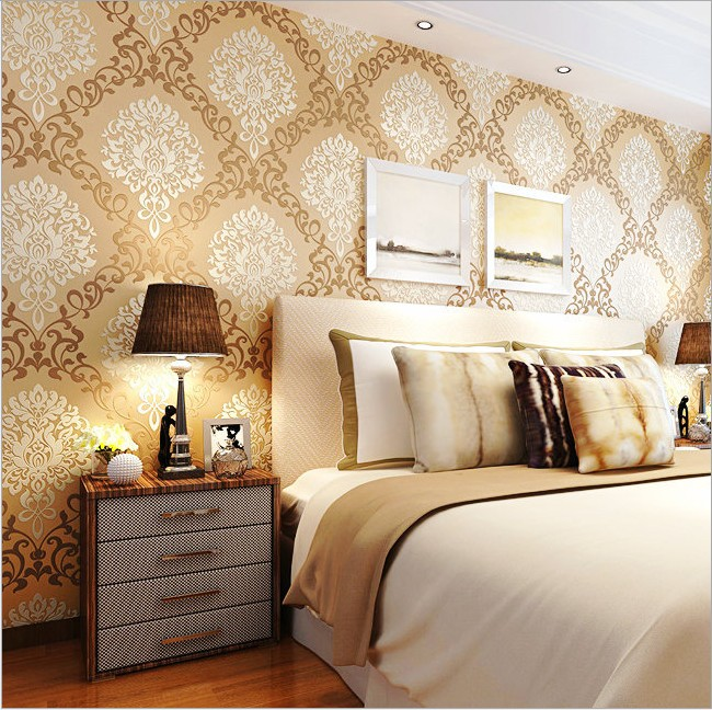 3 d bronzing non-woven wallpaper Contracted Europe type to Damascus The sitting room the bedroom TV setting wall paper wholesale<br>