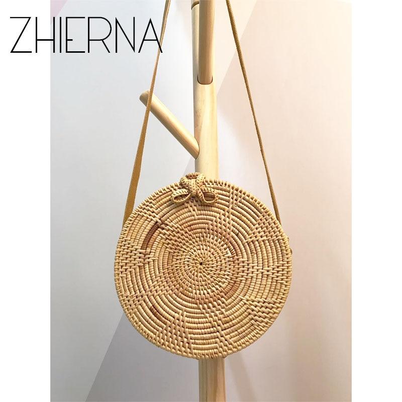 ZHIERNA  Summer Vintage Handmade Crossbody Leather Bag Round Straw Beach Bag Girls Circle Rattan bag Small Bohemian Shoulder bag<br>
