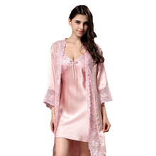 New Sexy Summer 100% Natural Silk Lace Sling Nightdress High Quality Robe tracksuit Female Temptation Sleepwear  iT312 pajamas