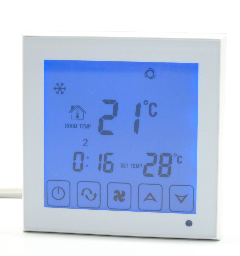 2p 4p blue backlight touch screen programmable Fan coil Thermostat with Timing program<br>