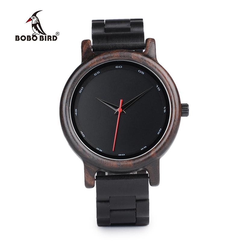 BOBO BIRD Male High Quality wrist Watch Bamboo Wooden Watches Men in gift box custom logo erkek kol saati 10