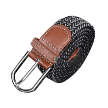 Male Female Belt Buckle Canvas Leather Belt Strap Waistband Elastic Black And White