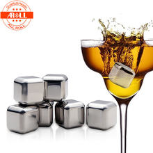 4 PCS Stainless Steel Ice Cubes Whisky Stones Wine Whiskey Cooler Beer Cola Sprite Fruit Juice Drinks Cooler Rocks Bar Ice Stone(China)