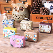 6PCS 75*35*55mm Small Tin Vintage Party Rectangle Handbag Suitcase Luggage Shaped Candy Box Wedding Favor Gift Boxes