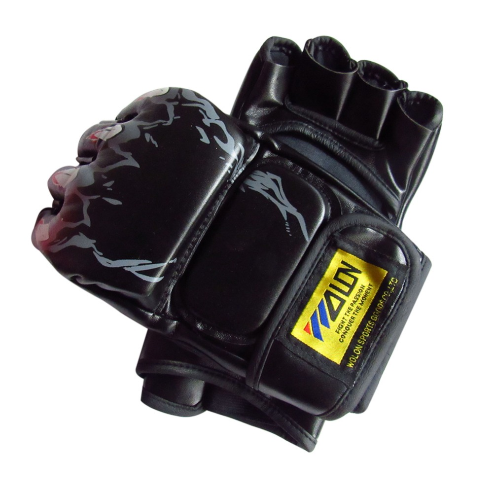 Kick Boxing Gloves PU Leather Half Finger Fight MMA Glove Muay Thai Boxing Training Fitness Boxer Fight Equipment for Adult 14