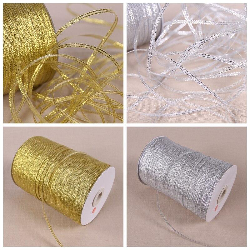 6mm 50 Yards 1/4 Gold Luster Metallic Ribbon Wedding Christmas Crafts