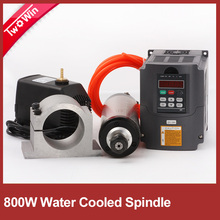 High quality 800W AC Spindle Motor Kits 0.8KW 4 Bearing Water Cooled Spindle + 1.5KW 220V Inverter + 65mm Clamp + Pump+Pipe
