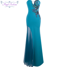 Angel-fashions Floral Applique Long Mermaid Evening Dress Abendkleider Blue Green 247