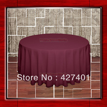 "Hot Sale 120""R Burgundy 210GSM Polyester plain Table Cloth For Wedding Events & Party Decoration(Supplier)(China)"