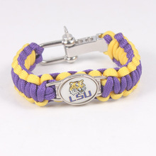NCAA Charms LSU Tigers Bracelet Outside Sport Camping Woven 550 Cord Adjustable Size Emergency Survival Paracord Bracelet(China)