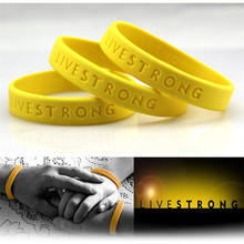 "300pcs ""LIVE STRONG"" Sport Wristband Motivational Hologram Bracelets Adult Teenager Bracelet Outdoor Cycling Yellow DHL Free(China)"