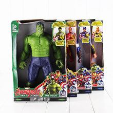 1Pcs Retail Fullset 4Style 30cm the Avengers Iron man Hulk Captain America Thor PVC Figure Toy Can Make Sounds