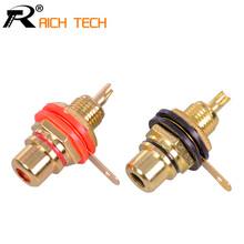 1pair Gold plated RCA Jack Connector Panel Mount Chassis Audio Socket Plug Bulkhead with NUT Solder CUP Wholesale 2pcs(China)