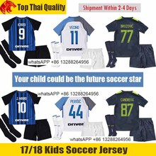 kids 17 18 INTER home soccer jersey 2017 2018 JOVETIC ICARDI PALACIO KONDOGBIA MEDEL CANDREVA Jovetic away Milan football shirt(China)