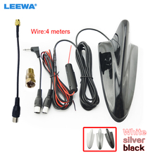 LEEWA 5set Car 4in1 Shark F connector 3.5 TRS IEC SMA Booster TV Antenna/Decoration Anteena White,silver,black #CA888+CA3918(China)