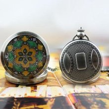 COPPER JADE COLOR PATTERN MECHANICAL POCKET WATCH freeship(China)