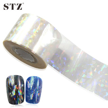 STZ 100x4cm New 2017 Shinning Glass Broken Glass Sticker Nail Foils for Adhesive Glue Plastic Full Wraps Transfer Foils TW02
