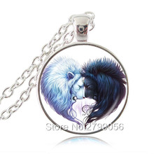 Fantasy Heart Lions Pendant Necklace Sun and Moon Black and White Lion Jewelry Glass Cabochon Silver Chain Statement Necklace