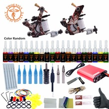 Complete Tattoo Kits 8 Wrap Coils Guns Tattoo Machine Set Black Pigment Sets Power Supply Beginner Tattoo Supplies 20 Colors Ink