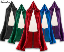 Adult Witch Long Purple Green Blue Red Black Halloween Capes Hooded Cloaks And Halloween Costumes For Women Men(China)
