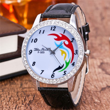 FUNIQUE Fashion Clouds Pattern Quartz Watches for Women Ladies Rhinstones Leather Strap Clock Simplicity Casual Gift Watches