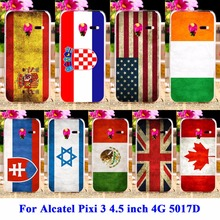 AKABEILA Silicon Cases For Alcatel OneTouch Pixi 3 4.5 inch 5019 4G Version Cover 5017D 5019D Shell UK Russia National Flag Hood