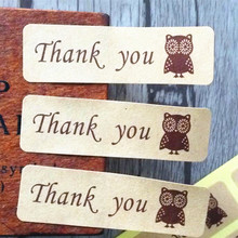 120PCS Vintage thank you Owl gift seal sticker label Kraft Rectangle stickers for baking Handmade Products children' DIY