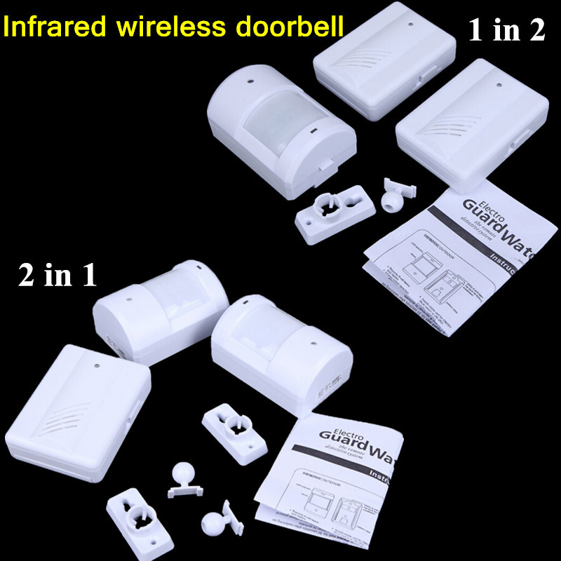 New Hot sales 1 in 2 &amp; 2 in 1 doorbell Driveway Patrol Wireless Motion Sensor Detector Alarm Infrared Alert Home security System<br><br>Aliexpress