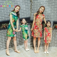 Chinese Tradional Qipao Mother Daughter Dresses Chi-Pao Cheongsam Princess Girls Ancient Hanfu Tang Dynasty Party Costume D41(China)