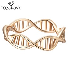 Todorova Gold Silver Infinity DNA Chemistry Ring Brand Jewelry Encircle Ring for Women Men Wedding Band Statement Rings bijoux