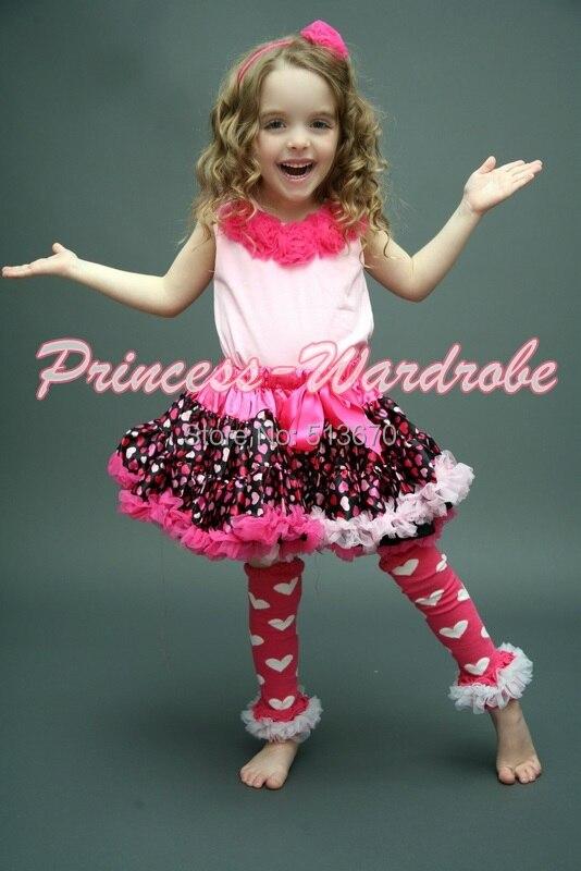 Valentine Hot Light Pink Heart Pettiskirt Skirt Pink Pettitop Top Hot Pink Rosettes 1-8Y MAPSA0254<br>