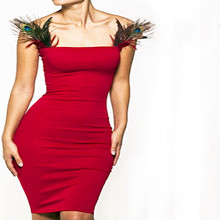 Summer Women Red Dress Bodycon Sexy  O-neck Sleeveless knee-length Tube Top with Peacock Feathers Package Hip Nightclub Party