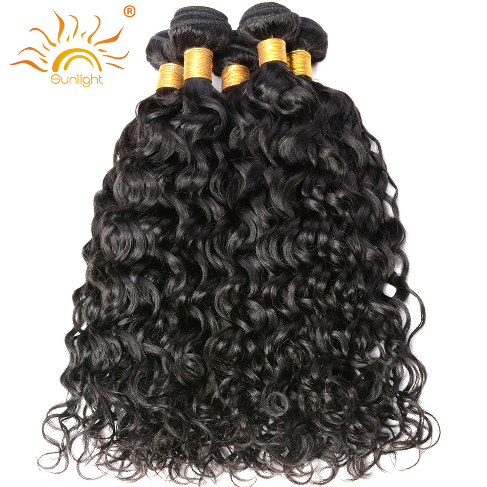 Sunlight Human Hair Peruvian Water Wave Human Hair Weave Natural Hair Extensions Remy Hair Bundles Curl Patterns Well 1b#