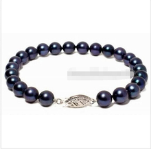 shipping>>>>9-10MM BLACK AKOYA AAA PERAL BRACELET 7.5'' 14Kt clasp 5.25