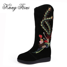 KANG FEINI 2017 Winter Women Boots Cow Leather Snow Boots Fashion Embroider Platform Shoes Woman Genuine Leather Knee-high Boots(China)