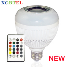 LED speaker bulb Audio Speaker 12W wireless Bluetooth E27 Colorful music playing & Lighting With 24 Keys IR remote Control