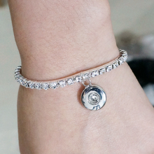 New Simple Rhinestone snap Bangles bracelets length 15CM fit 12MM snap buttons jewelrys Children Flexible wholesale SG0004