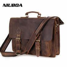 NIUBOA Genuine Leather Shoulder Bags Man Business Crossbody Bag Top Quality Crazy Horse Leather Briefcase Notebook Messenger Bag(China)