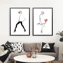 Minimalist Fashion Art Abstract Figure Line Art Canvas Painting Poster,wall picture for living room Home Decor no frame DP0435