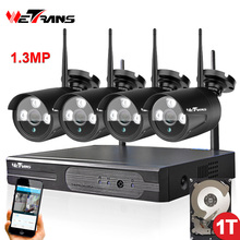 4 Camera Wireless Security System with DVR P2P HD 960P 20m Night Vision Waterproof Outdoor Wifi Camera NVR kit 4CH(China)