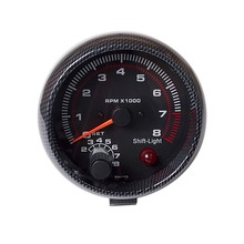 "3.75 Inch 95mm Tachometer for Single Color LED Auto Meter 3 3/4"" 12V Car Gauge [Carbon Fiber Style] TAC 0-8000 RPM FREE SHIPPING"