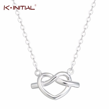 1Pcs New 925 Silver Jewelry Knot Heart Necklaces Infinity Necklace Pendant For Women Girl Couple Necklace Gift Fashion Jewelry