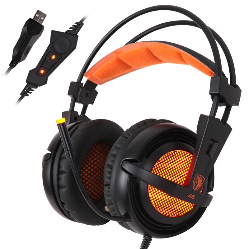 Sades A6 Gaming Headphone USB 7.1 Surround Sound Headset Noise Isolating Breathing LED Lights for DOTA WOW LOL<br>