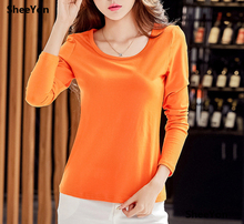 SheeYon women's Clothing autumn and winter T-shirts Tosp long sleeve plus size casual Tees Orange ladies 4398jJU(China)